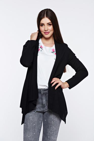 Black cardigan asymmetrical with easy cut long sleeved