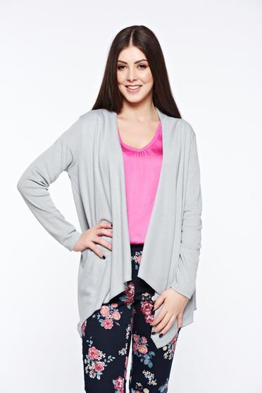 Grey cardigan asymmetrical with easy cut long sleeved
