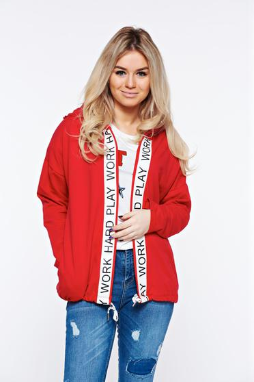 Red coat casual cotton with undetachable hood with easy cut