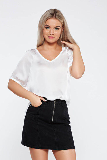 White t-shirt casual flared asymmetrical from satin fabric texture