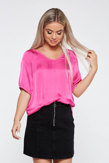 Pink t-shirt casual flared asymmetrical from satin fabric texture