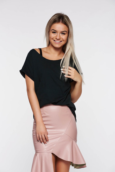 Black t-shirt casual elastic cotton with easy cut