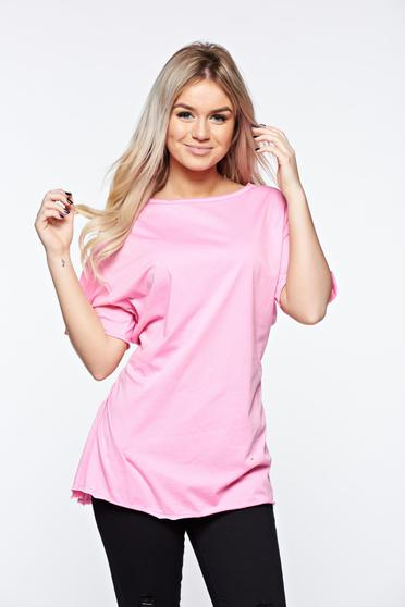 Pink t-shirt casual elastic cotton with easy cut with laced details