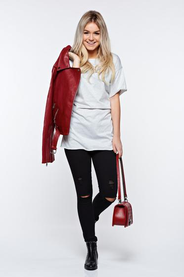 Grey t-shirt casual elastic cotton with easy cut with laced details