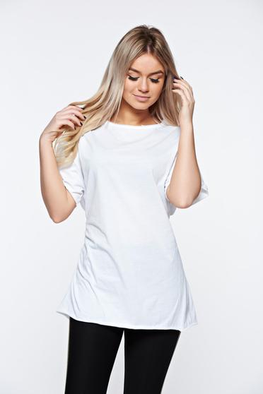 White t-shirt casual elastic cotton with easy cut with laced details
