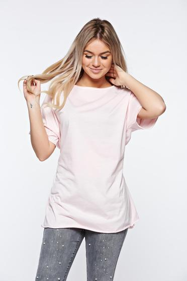 Rosa t-shirt casual elastic cotton with easy cut with laced details