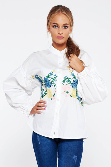 White women`s shirt casual cotton embroidered with puffed sleeves