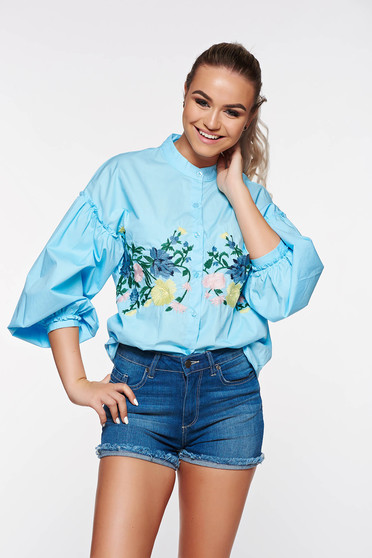 Blue women`s shirt casual cotton embroidered with puffed sleeves