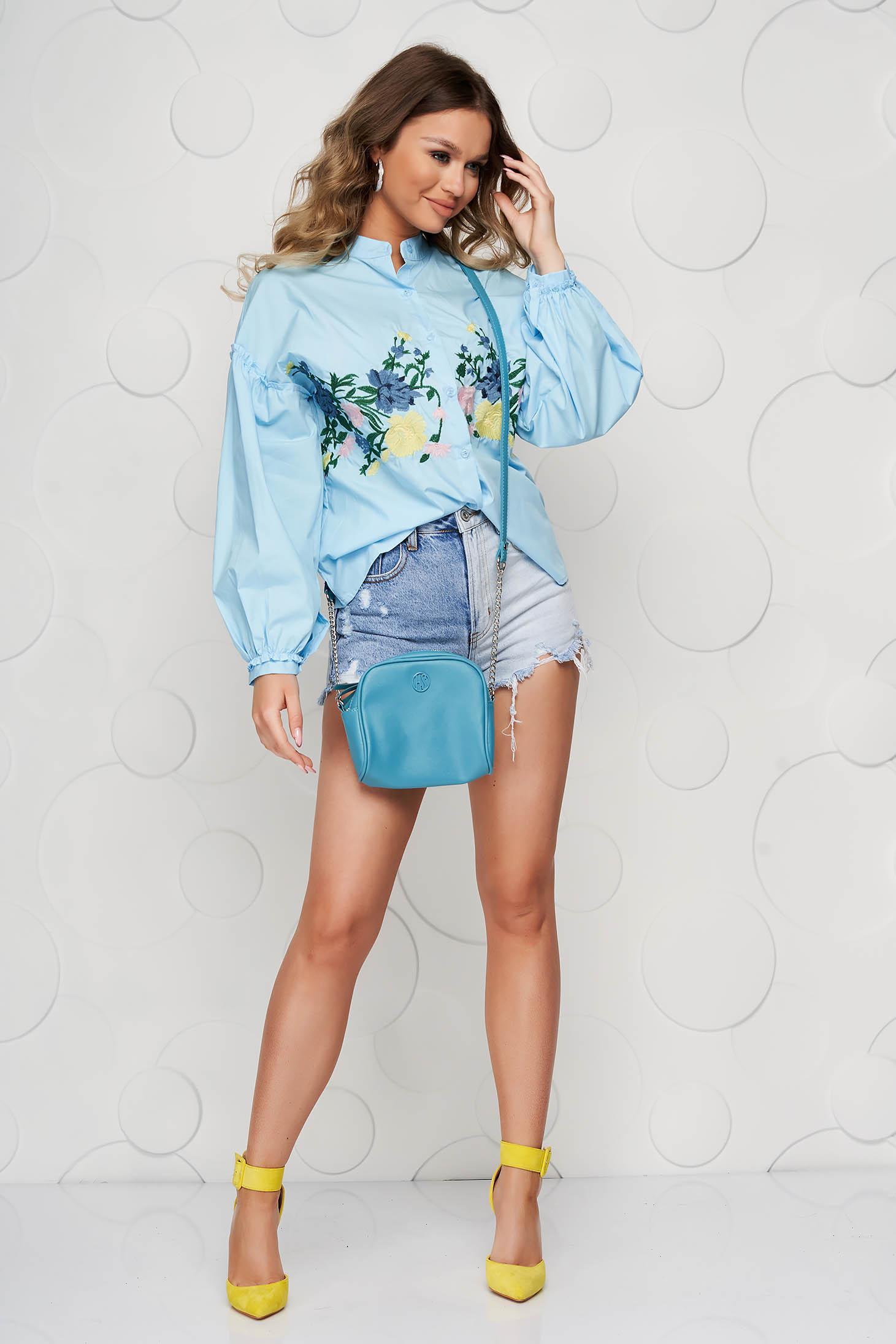 Kék casual bő ujjú hímzett pamutból készült női ing
