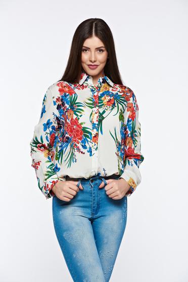 White women`s shirt casual cotton flared long