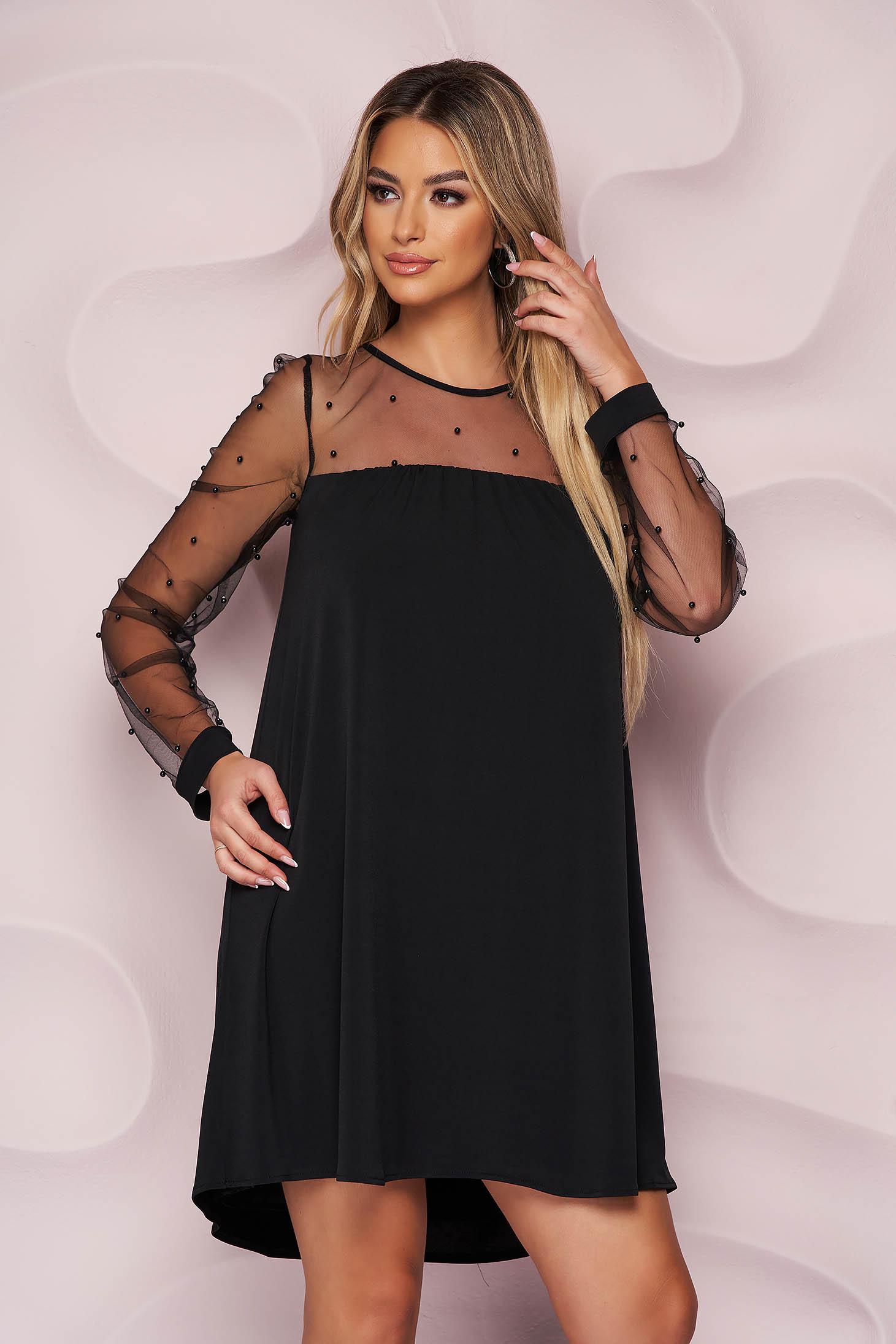 Fekete StarShinerS elegáns bő szabású ruha fátyol tüll gyöngy díszítéssel