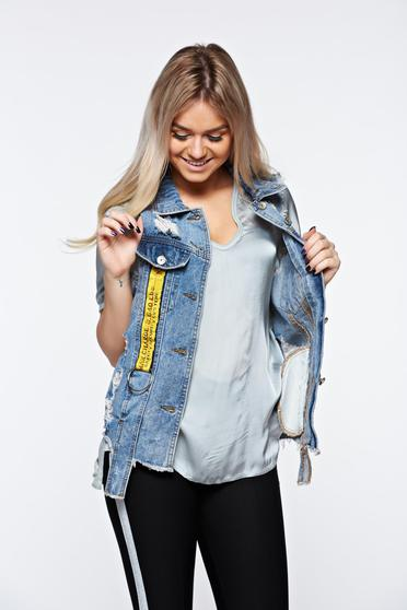 Blue gilet casual cotton with ruptures with front pockets