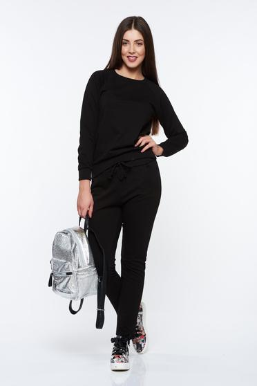Black sporty with easy cut set cotton with elastic waist
