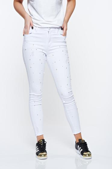 White jeans skinny jeans with pearls with medium waist elastic cotton