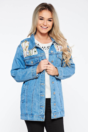 Blue jacket casual cotton from tulle embroidered with pockets