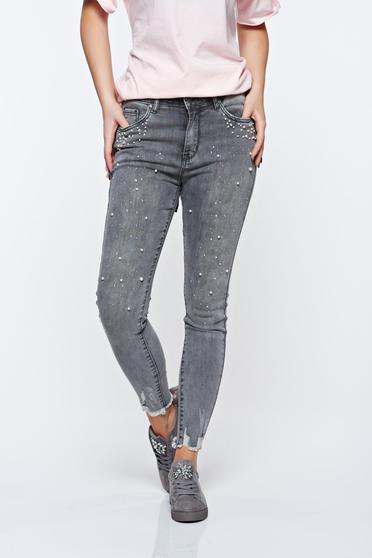 Grey jeans skinny jeans with pearls with medium waist elastic cotton