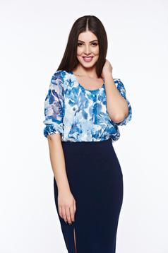 LaDonna blue women`s blouse elegant airy fabric with easy cut with rounded cleavage