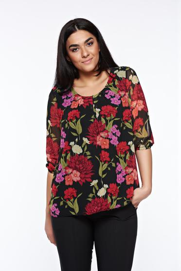 LaDonna black women`s blouse elegant airy fabric with easy cut with rounded cleavage