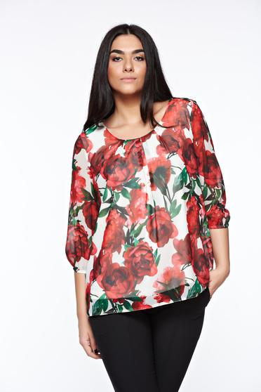 LaDonna white women`s blouse elegant airy fabric with easy cut with rounded cleavage