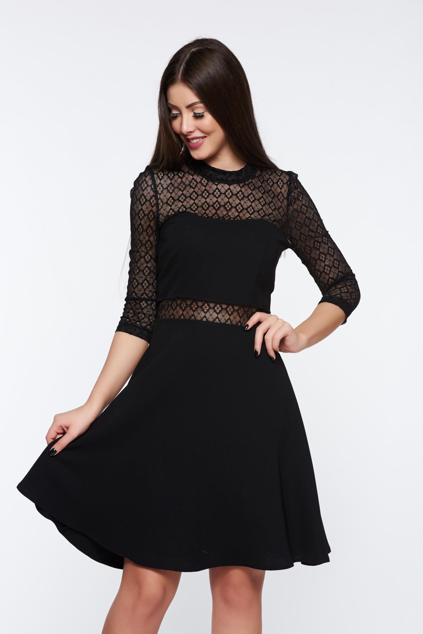Fekete StarShinerS elegáns harang ruha csipke díszítéssel nem rugalmas anyag e238dd4f96