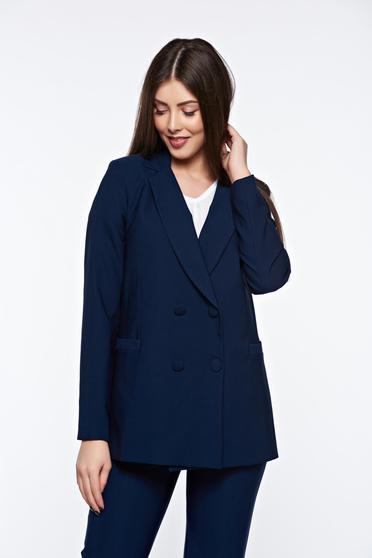 Artista darkblue jacket office from non elastic fabric with inside lining arched cut