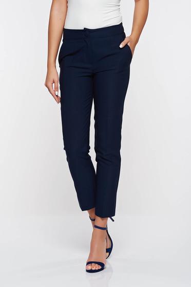 Artista darkblue trousers office with pockets with medium waist slightly elastic fabric