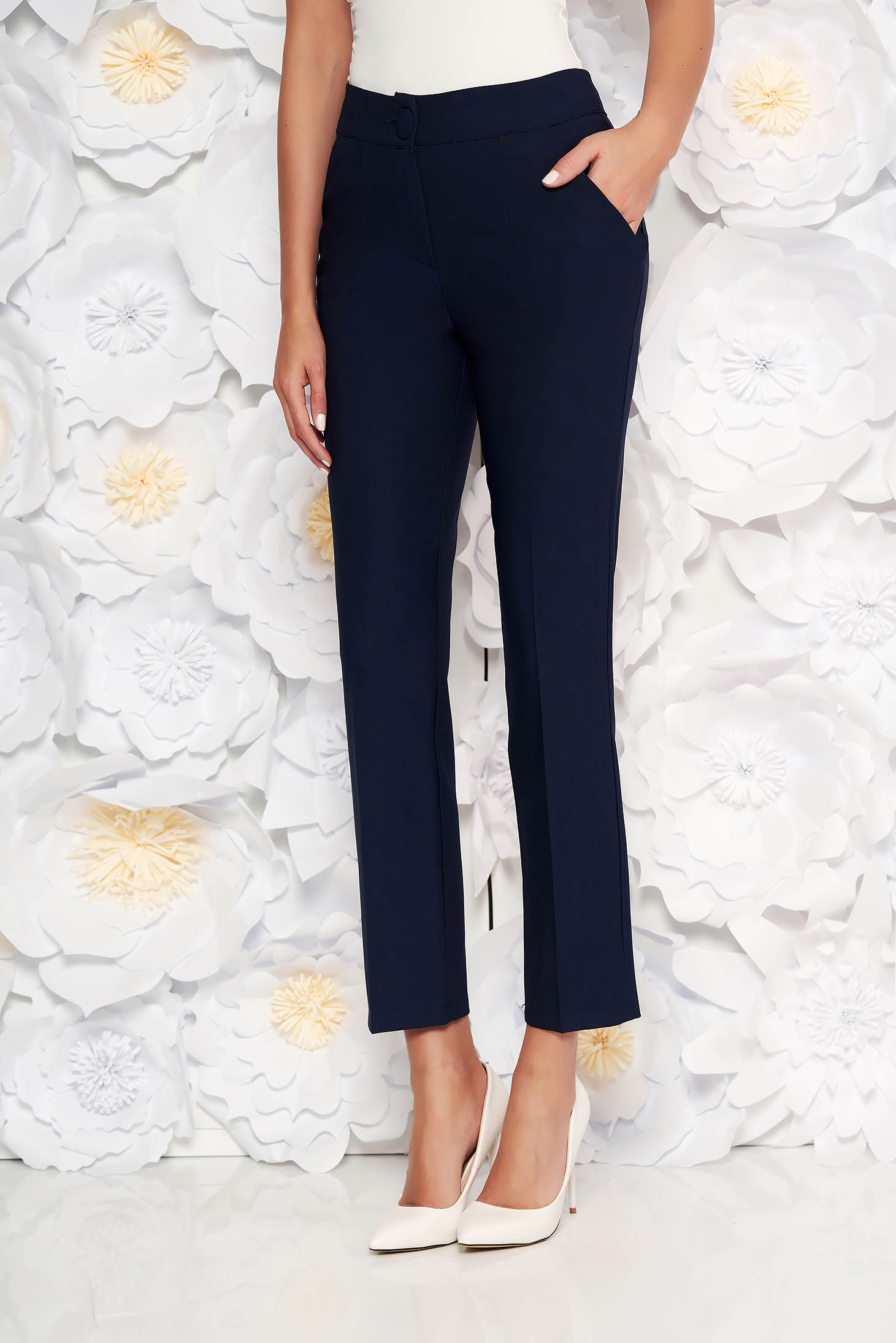 Artista darkblue office trousers with pockets with medium waist slightly elastic fabric with straight cut