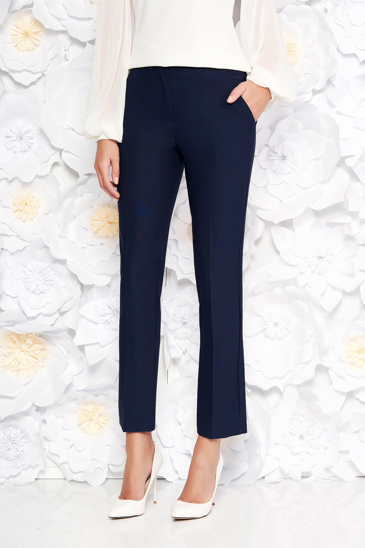 Artista darkblue trousers office with pockets with medium waist slightly elastic fabric with straight cut
