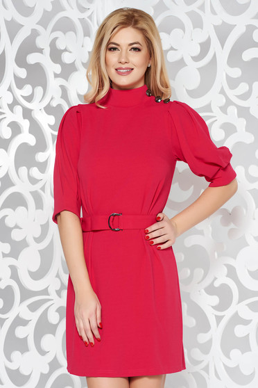 Artista pink dress elegant with puffed sleeves accessorized with tied waistband from elastic fabric
