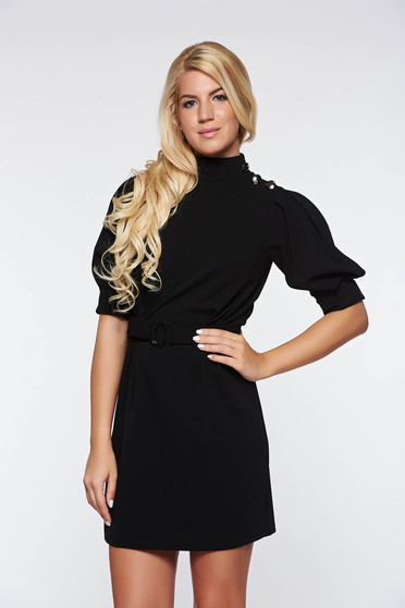 Artista black dress elegant with puffed sleeves accessorized with tied waistband from elastic fabric