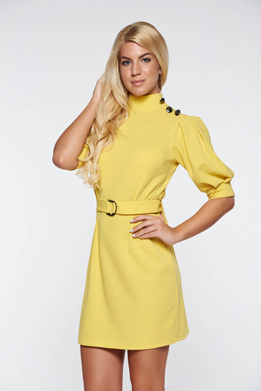 Artista yellow dress elegant with puffed sleeves accessorized with tied waistband from elastic fabric