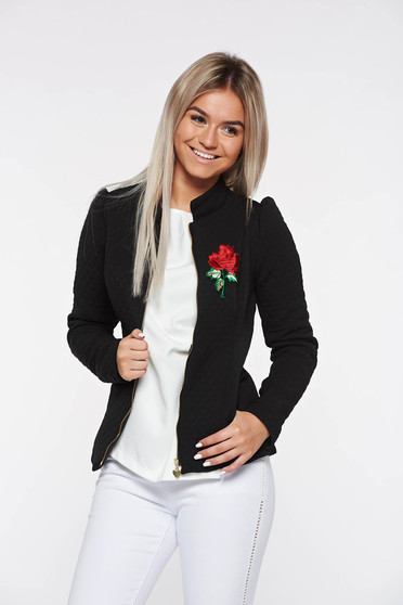 Artista black jacket casual with inside lining with pockets embroidered