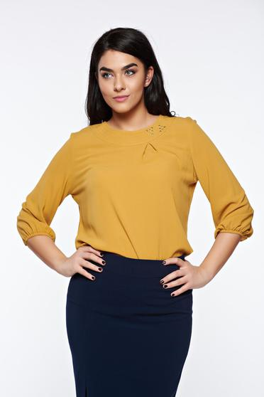 LaDonna mustard elegant flared women`s blouse airy fabric handmade applications