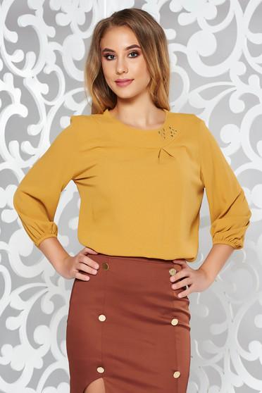 LaDonna mustard elegant flared women`s blouse airy fabric handmade applications