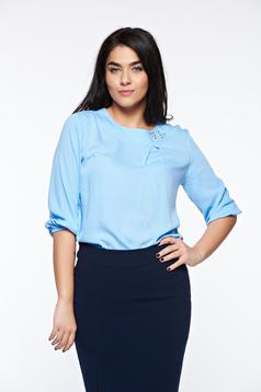 LaDonna lightblue elegant flared women`s blouse airy fabric handmade applications