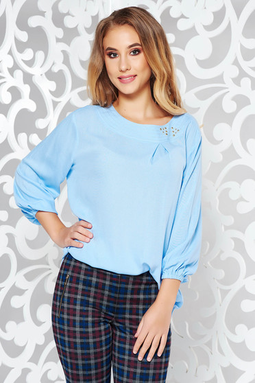 LaDonna lightblue elegant flared women`s blouse airy fabric handmade applications