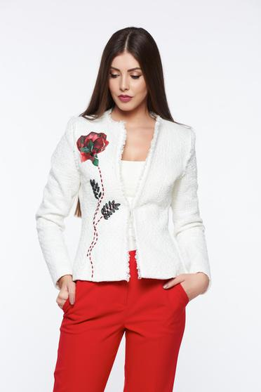 LaDonna white jacket elegant tented with inside lining handmade applications