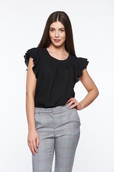 LaDonna black women`s blouse elegant transparent chiffon fabric with easy cut