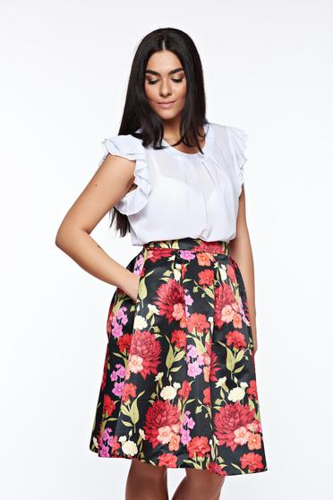 LaDonna white women`s blouse elegant transparent chiffon fabric with easy cut