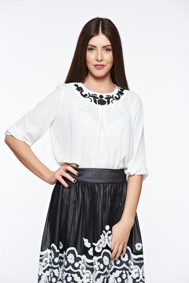 LaDonna white elegant women`s blouse handmade applications transparent chiffon fabric