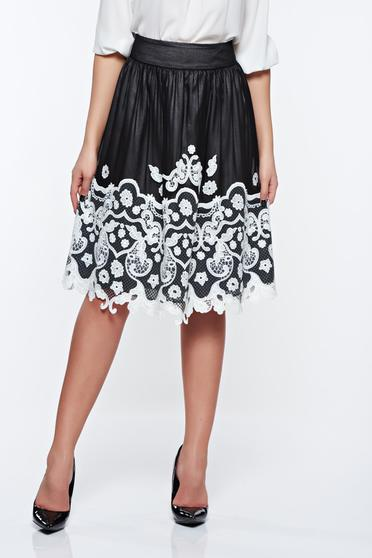 LaDonna black embroidered elegant cloche skirt with inside lining with medium waist