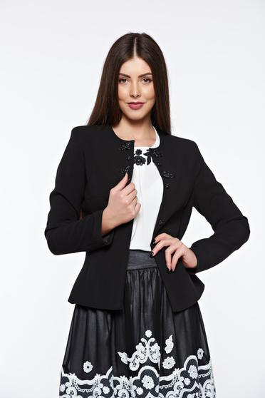 LaDonna black elegant tented jacket with inside lining handmade applications