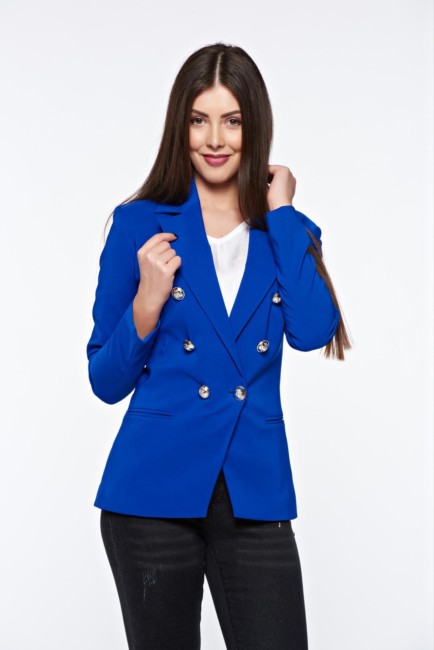 fb6da269d9 Kék LaDonna irodai szűkített blézer belső béléssel enyhén rugalmas szövet