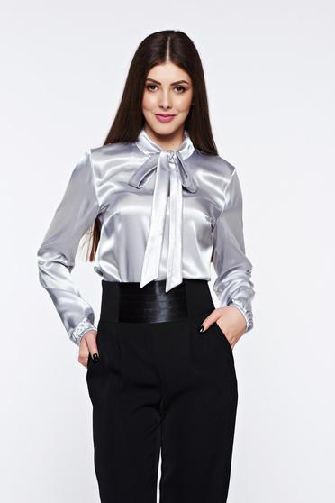 StarShinerS grey women`s blouse elegant with easy cut from satin fabric texture