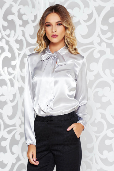 StarShinerS grey women`s blouse elegant with easy cut from satin fabric texture long sleeved