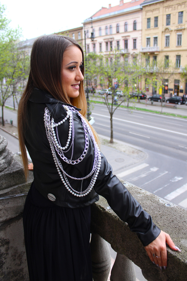 Ocassion black jacket casual from ecological leather with inside lining metallic chain accessory with pearls
