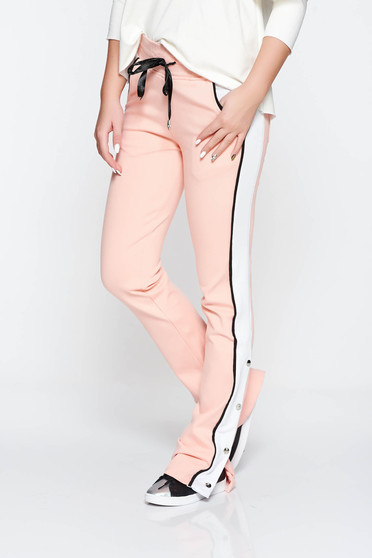 Ocassion rosa trousers casual with pockets cotton is fastened around the waist with a ribbon with elastic waist