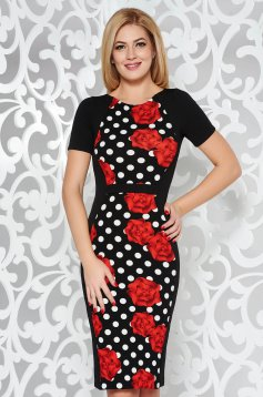 StarShinerS black office pencil dress slightly elastic fabric with print details