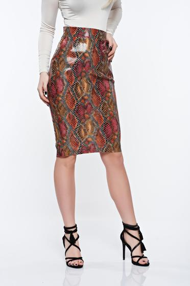 PrettyGirl brown skirt pencil from ecological leather with medium waist
