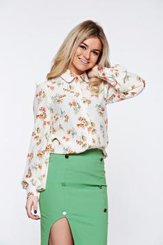 PrettyGirl white women`s shirt office flared airy fabric nonelastic fabric